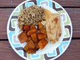 Cider-Glazed Chicken, Browned-Butter Pecan Rice, and Roasted Butternut Squash