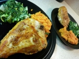 Chipotle Smashed Sweet Potatoes and Creamed Spinach