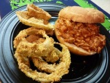 Tangy Pulled Pork Sandwiches with Baked Sweet Onion Rings