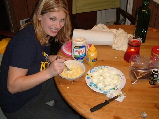 Cooking - me making deviled eggs