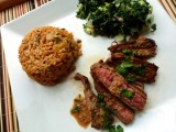 Pan-Grilled Flank Steak with Soy-MustardSauce