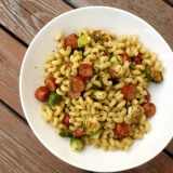 Pesto Pasta with Chicken Sausage & Roasted BrusselsSprouts