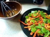 Veggie Face Plant + Asian Snap Pea Salad with Orange-Sesame Dressing