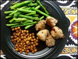Honey-Chipotle Turkey Meatballs and Roasted Chickpeas