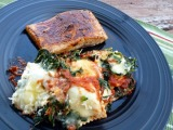 Blackened Salmon and Spinach Ravioli Bake