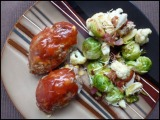 Lil Cheddar Meat Loaves and Roasted Brussels Sprouts & Cauliflower with Bacon