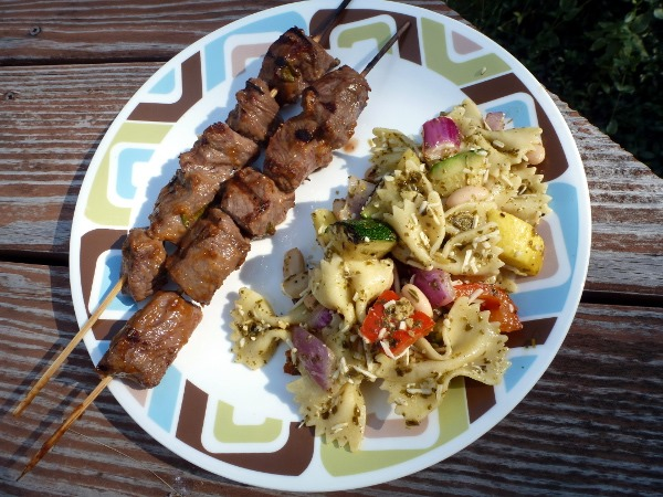 Peanutty Beef Skewers & Grilled Vegetable-Pesto Pasta Salad | Meg Goes ...