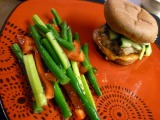 Korean Turkey Burgers with Kimchi and Marinated Vegetable Salad