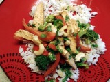 Chicken Stir-Fry with Peanut Sauce and Coconut Rice